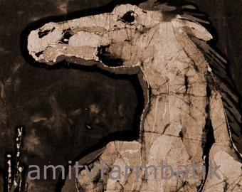 Grey Horse above Grasses  -  batik  print from original