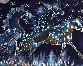 Horses Frolic on Starlight Nite  - horizontal  -   batik print from original - Appaloosa