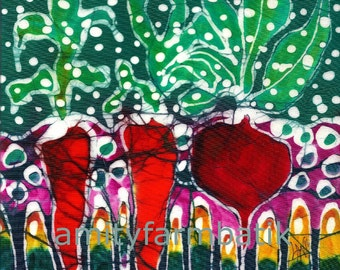 Snowflakes on Garden  -  a Harvest   -   print from original batik