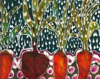 Garden Rain Trivet  - Summer Rain On Garden  -  Ceramic tile - harvest - batik art