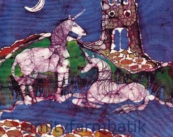 Unicorns Rest Below Castle - original batik painting