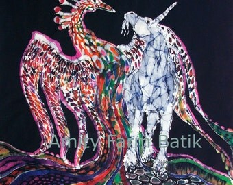 Unicorn & Pheonix Merge Paths -  print from original batik