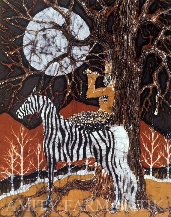 Pan Calls the Moon from Zebra - print from original batik