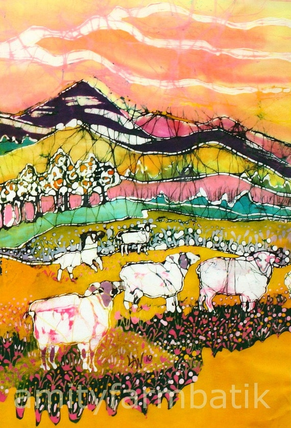 Sheep on Sunny Summer Day  (detail 1) - print from original batik