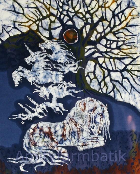 Horse Dreaming Below Tree -  original batik painting