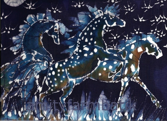 Horses Frolic on Starlight Nite  - horizontal  -   batik print from original - Appaloosa