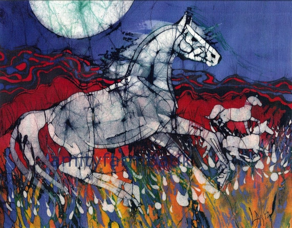 Horse Gallops in Summer Field in the Light of the Full Moon  - Horizontal batik print from original