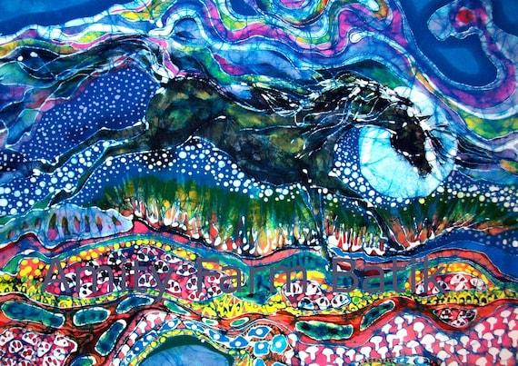 Horse born of Moon Energy  -  horizontal - batik  print from original - cerulean blue