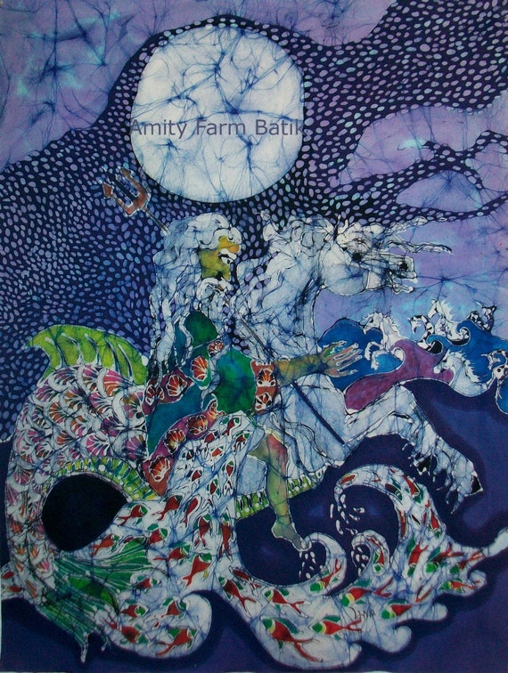 Neptune Rides the Sea - reserved for Nicole - batik without frame