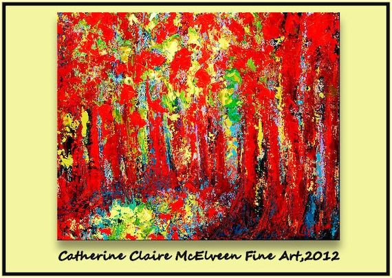 Large  Abstract Art Original Painting Acrylic Oil Tree Landscape Art   40 x 30  Red ,Blue, Green   Claire McElveen