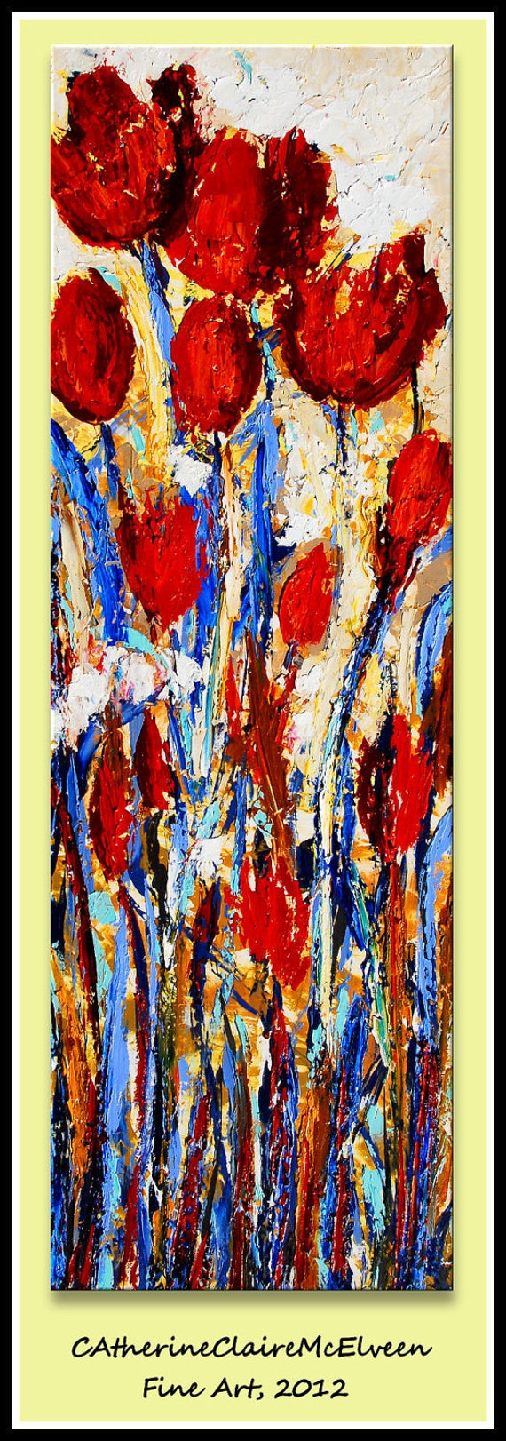 """Large Original Flower Oil Painting Abstract Art on Canvas Red, Blue, Taupe, Grey,Fushia  Huge 60"""" x 20"""" CatherineClaireMcElveen"""