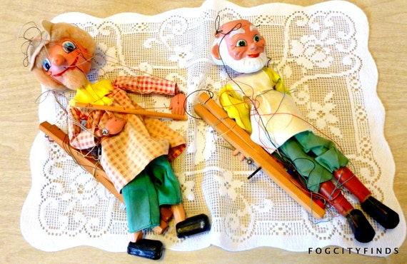 Vintage Pair of Marionettes - stringy playful goodness for hours of imagination wonder....