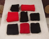Recycled Cashmere Sweater Wrist Bands - Black Red
