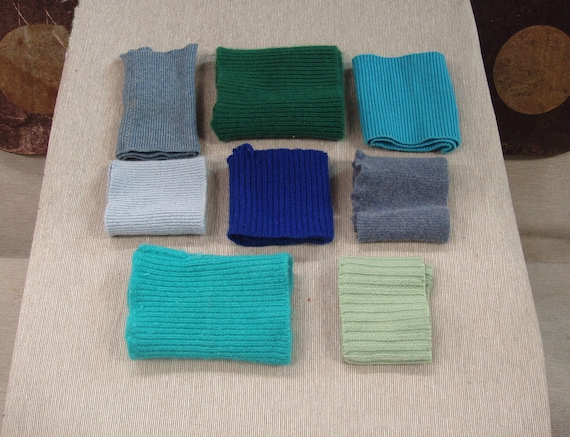 Recycled Cashmere Sweater Wrist Bands - Blue green