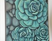 Carin Vaughn Original Succulent Painting 16'x20'