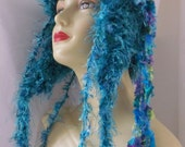 Crocheted Hat With Ear Flaps Super Soft And Fun Turquoise
