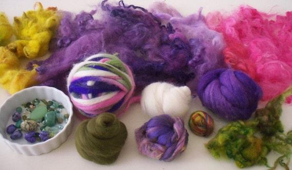 Mixed Fiber Destash Lot Spinning Felting Crazy Combo Pack - Merino Wool Mohair Locks Wool Locks Turquoise Bead Mix - Modena Willow