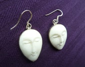 SALE: Carved. Bone. Face. Silver. Vintage. Earrings. Indonesia. 1980.