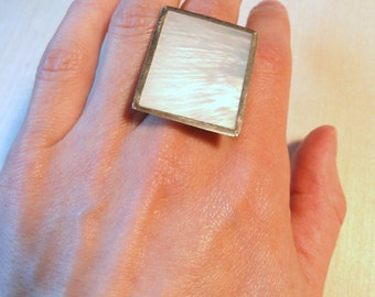SALE Mother of Pearl. Sterling Silver Ring