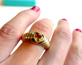 TIFFANY & Co.  Heart Citrine Ring Solid 18k Gold .69 carats