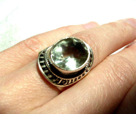 Green AMETHYST Silver ring size 6  FREE SHIPPING