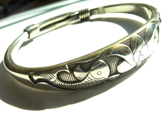 40% OFF SALE. PEACE Silver Mix Bracelet with Lotus and Fish. Tibet.