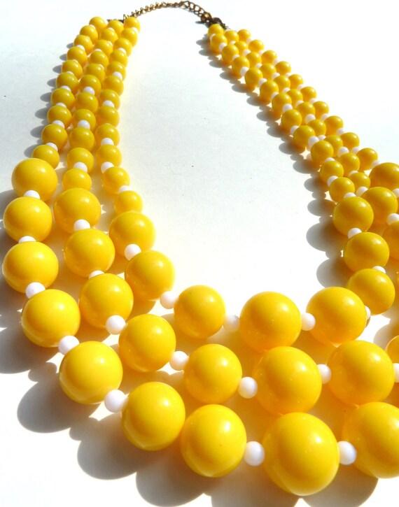 Sunny LEMON Yellow Multi-Strand Bead Necklace