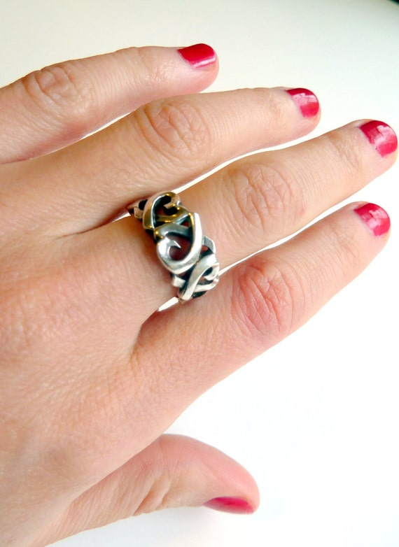 TIFFANY & Co Paloma Picasso Sterling Silver Triple Loving Heart Ring