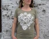 MANDALA tshirt - organic womens tee - olive green - xl