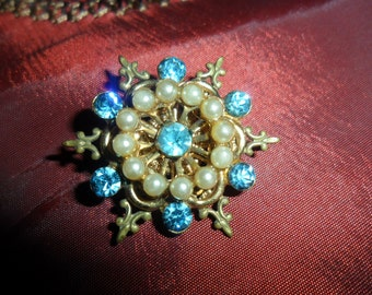Aqua Rhinestone and Pearl Vintage Brooch