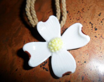 Porcelain Dogwood and Hemp Rope Vintage Necklace