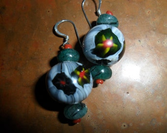 Italian Vintage Glass Beads Handmade Earrings