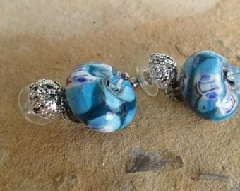 Italian Glass Bead and Silver Handmade Dangle Earrings