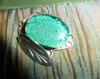 Mexican Ornate Silver Pendant with Turquoise dust Pendant