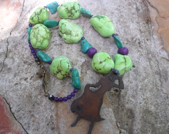 Cowgirl Necklace Green and Purple Turquoise