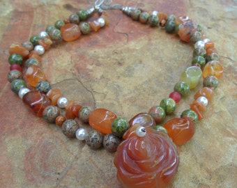 Unakite and Carnelian Handmade Necklace with Rose Pendant