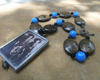 Cowgirls Goldstone  Beads  and Pendant  Handmade Necklace