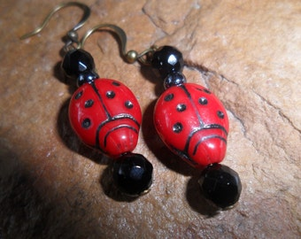 Lady Bug Earrings Handmade