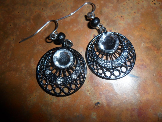 Ornate Black Dangle Earrings