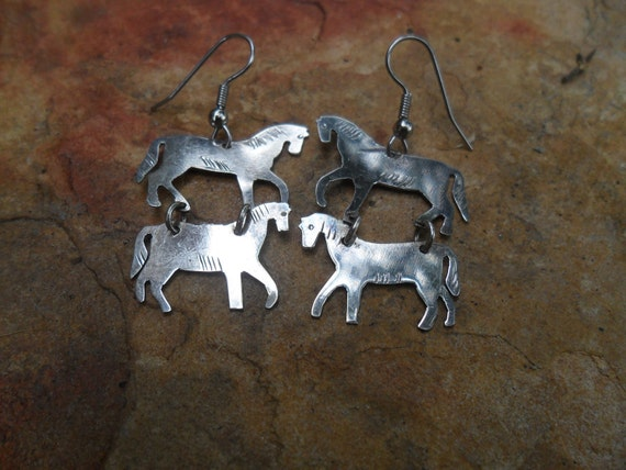 Horse Earrings Silver Plated Dangles