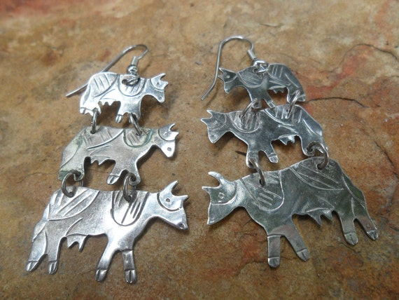 Cow Dangle Earrings Silver Plated