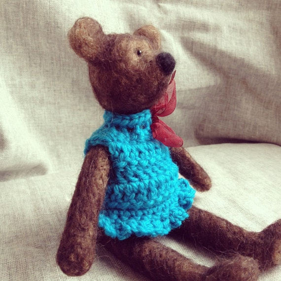 OOAK Annie-Needle Felted and Jointed Teddy Bear