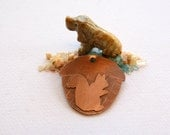 The squirrel and acorn copper dog id tag