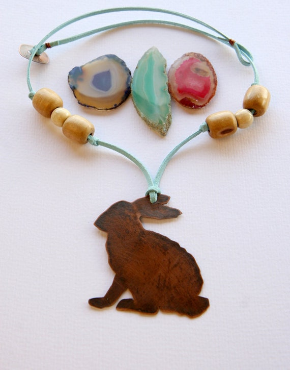 Rabbit silhouette copper spring necklace