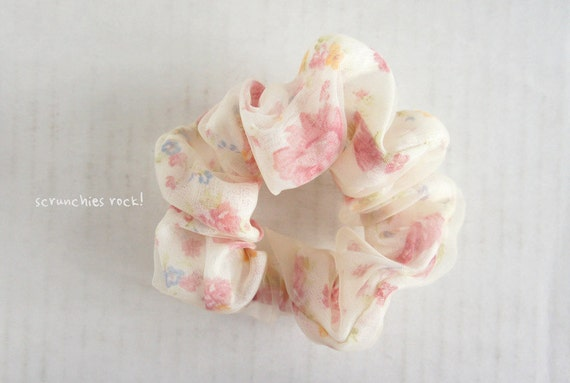 Handmade chiffon floral scrunchie