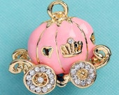1 - Enamel and Rhinestone Pink Pumpkin Coach Carriage Fairy Tale Charm (3-5H)