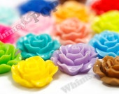 120 - Large Detailed MIXED Colors Rose Deco Resin Cabochons, Flower Shaped, 20mm x 9mm (R1-001 - R1-025 mix)