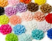 MIXED Colors Small Dahlia Bead / Cabochons, Flower Cabochon, Flower Bead, Flower Connector, Resin, 14mm (R2-034)