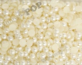 7MM - Ivory Cream Pearl Flatback Resin Decoden Cabochons,  Half Pearl Cabochons, 7mm Flat Pearls, Flat Back Pearls, Embellishment (R4-078)