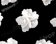 16mm - Cream White Fancy Textured Flower Bouquet Resin Flatback Cabochons, Flower Cluster Cabochons, Rose Bouquet  (R2-008)